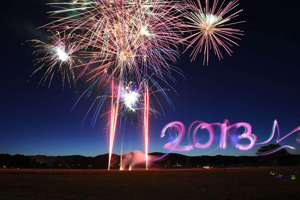 New Year's Eve 2013 fireworks, Mudgee. Photo by Amber Hooper.