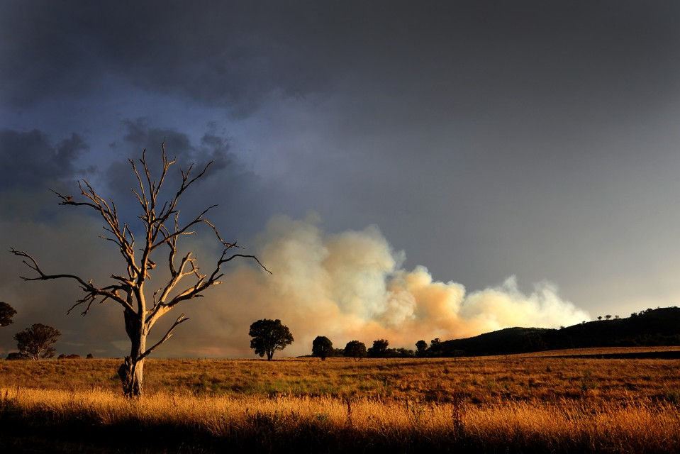 A photo of the Riverlea bushfire taken from Lue Road, Mudgee. Photo by Amber Hooper.