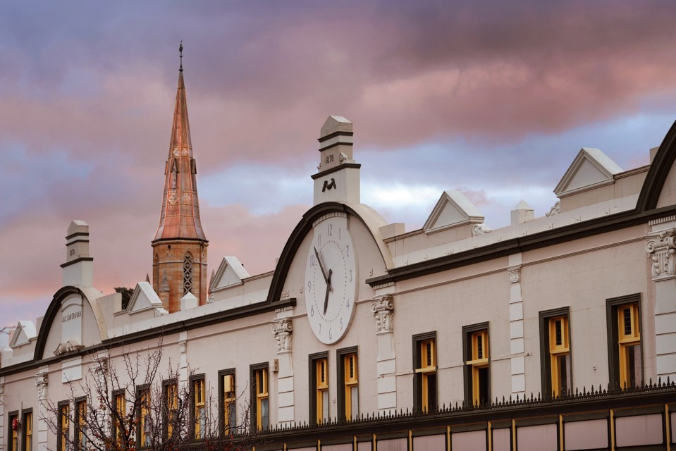 A photo of the Mudgee Town Centre with St. Marys steeple in the background. Photo by Amber Hooper.